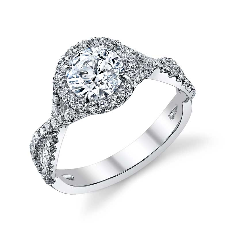 Forevermark diamond halo engagement ring with a twist