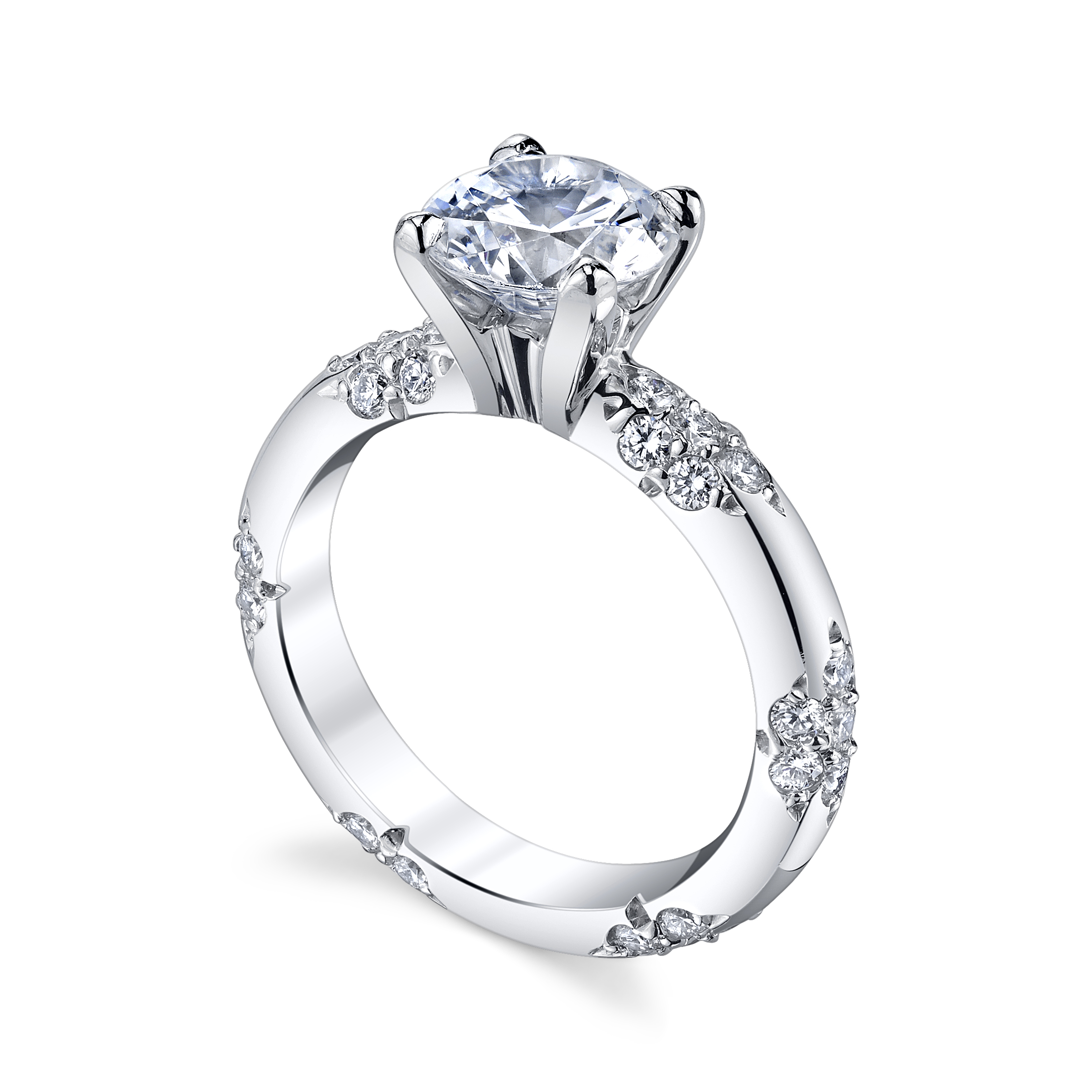set tapered channel engagement micro rings solitaire diamond round ring pave ritani