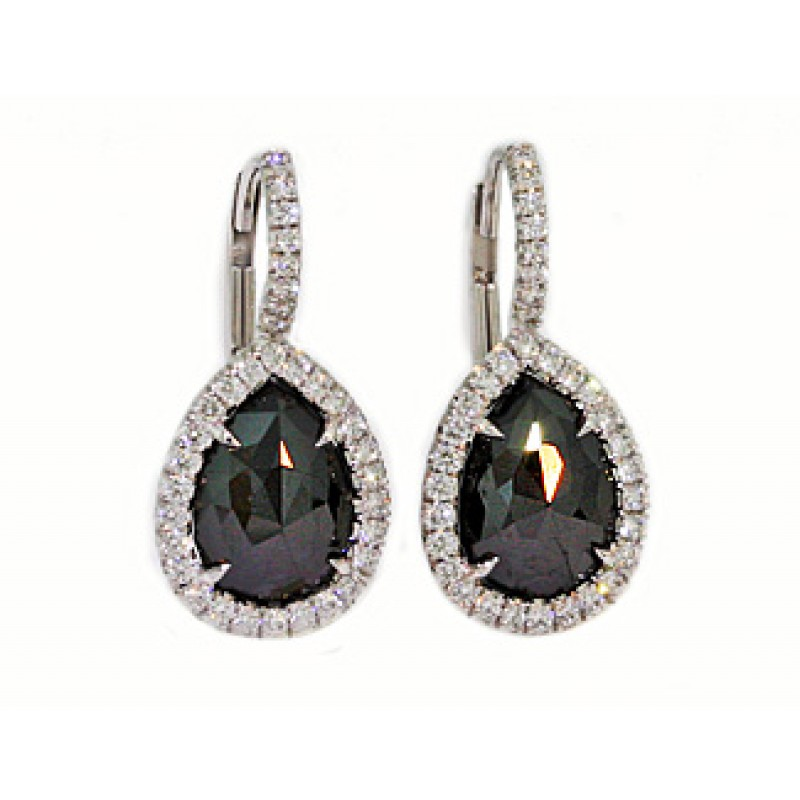 Handmade French Pave Black Diamond Drop Earrings