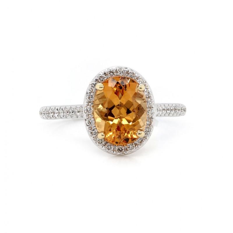 Orange Topaz Halo Ring
