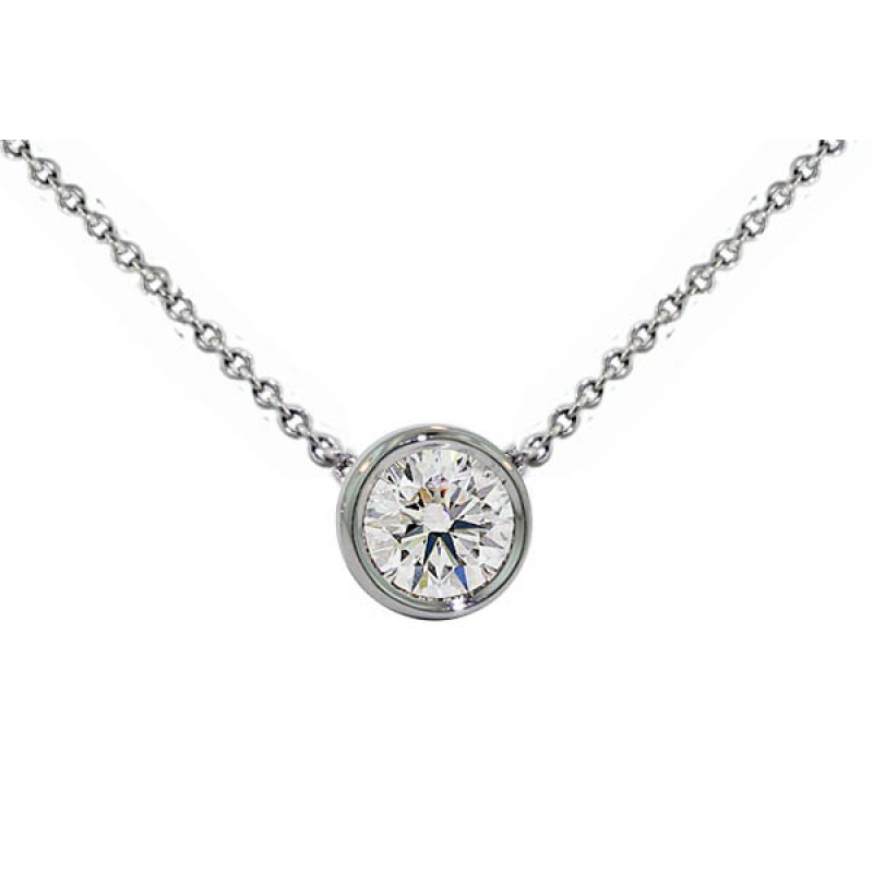 Handmade diamond solitaire bezel necklace 73e593e9d
