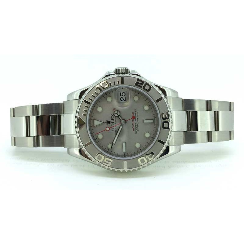Stainless steel and platinum Rolex Yachtmaster 35mm midsize