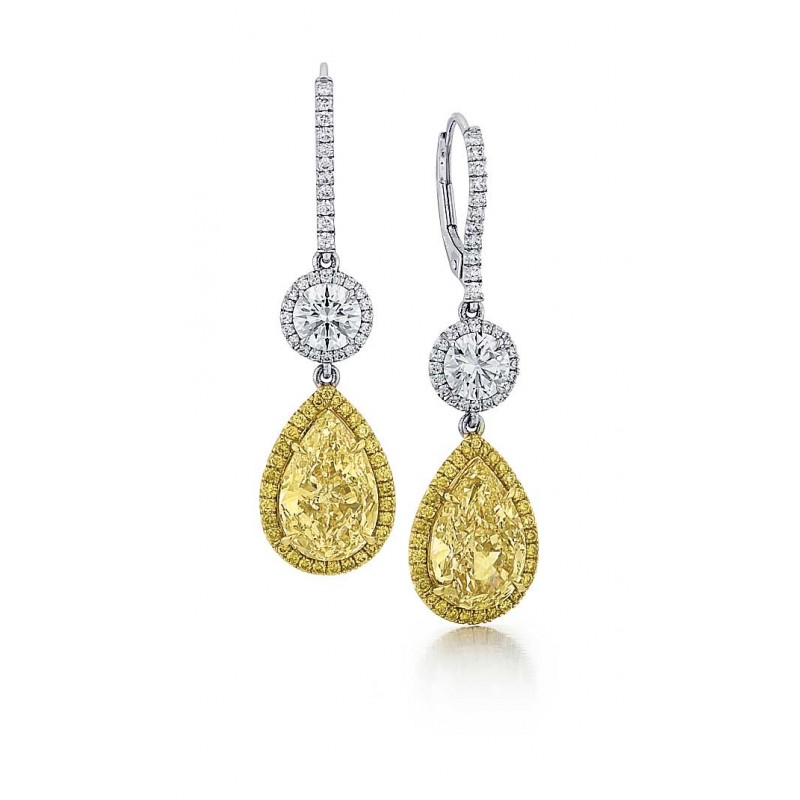 Custom Yellow Diamond Drop Earrings