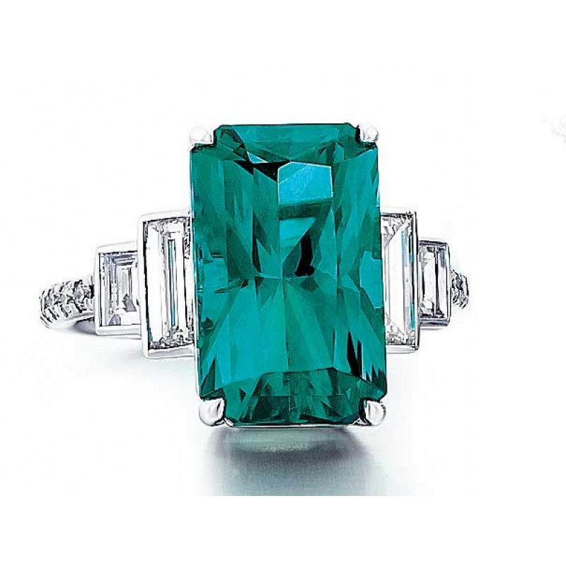 Custom made green Tourmaline ring with baguette sides