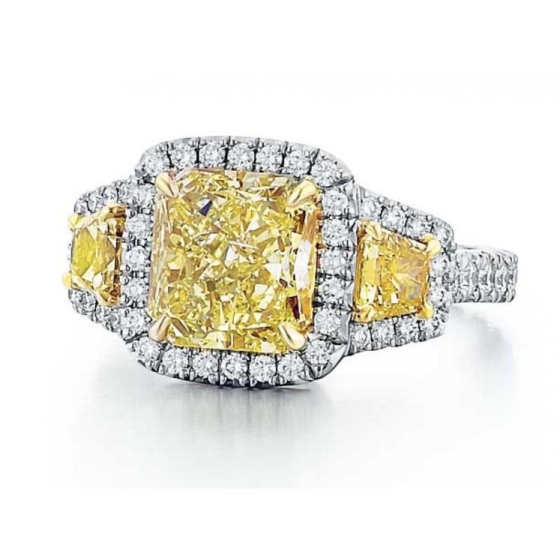 Fancy Yellow Diamond Three Stone Style Ring
