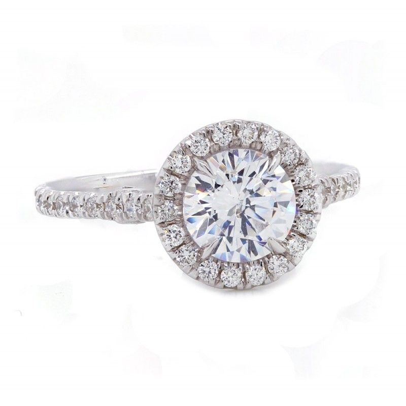 Halo Engagement Ring with Scroll Side