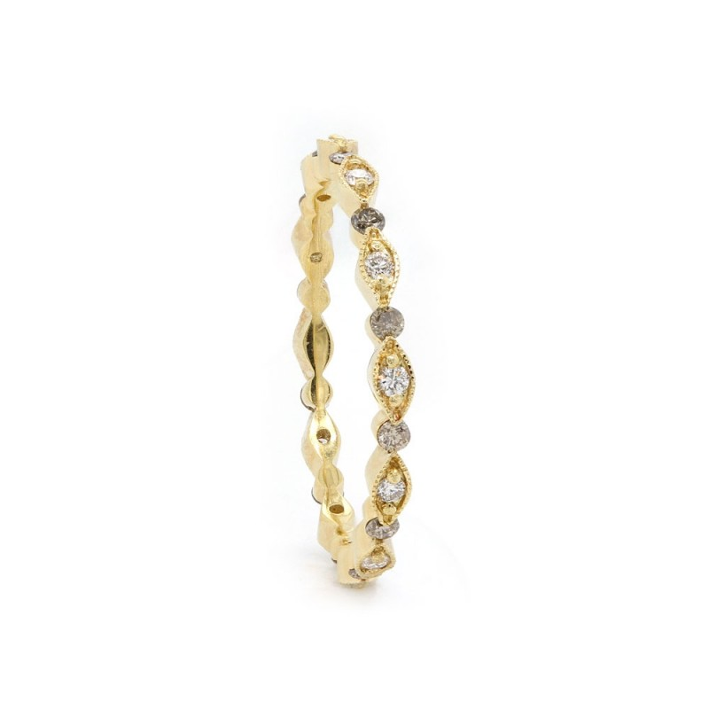 Brown and White Diamond Eternity Band
