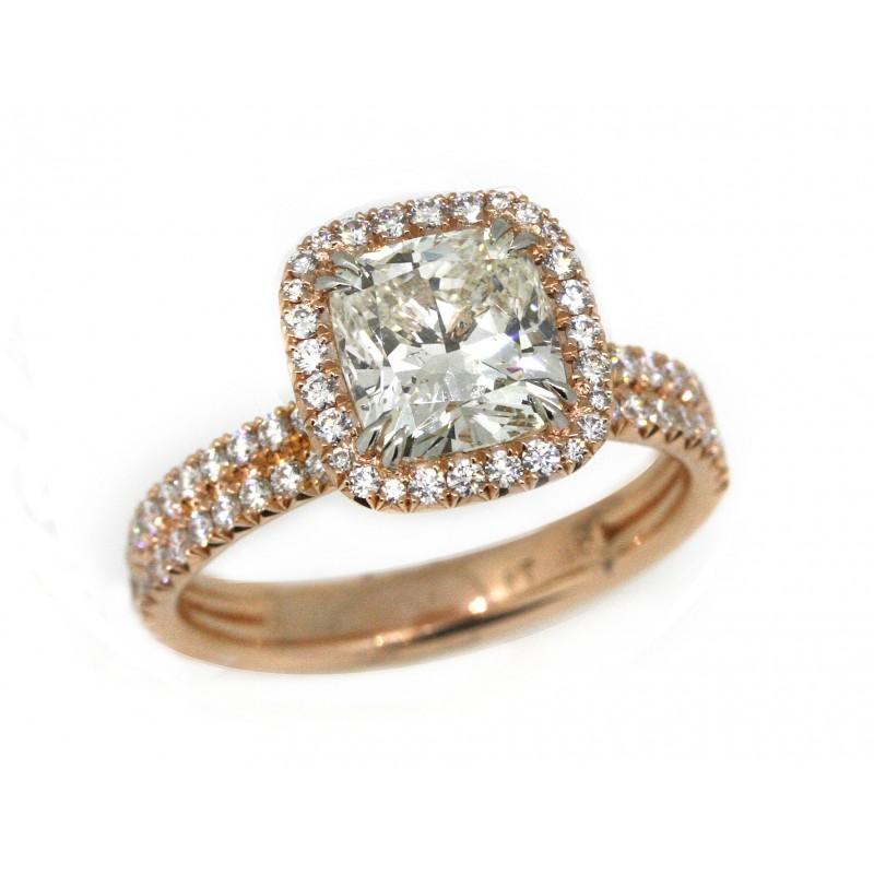 18k Rose Gold/ Platinum 1.81 Carat Cushion Diamond Center