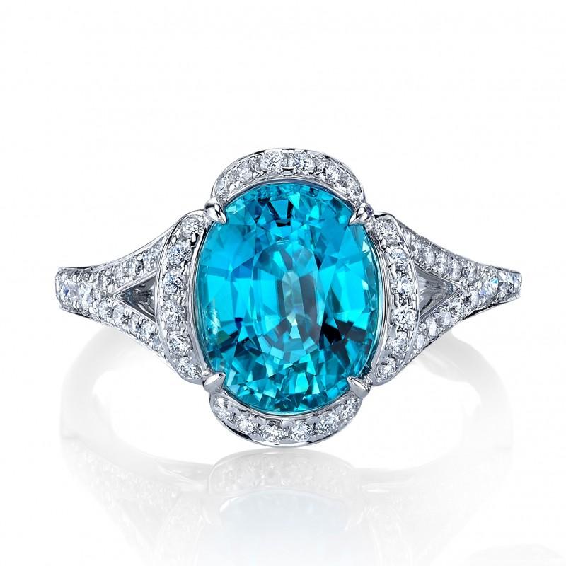 Blue Zircon Diamond Halo Ring