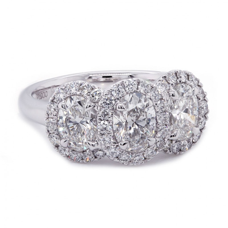 Three Stone Oval Diamond Halo Ring