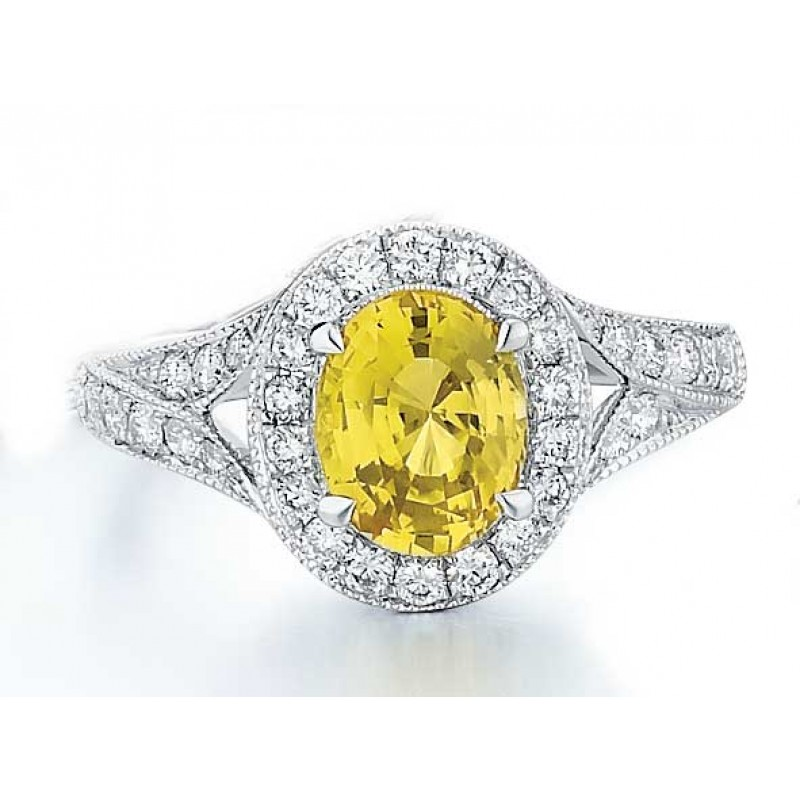 Yellow Sapphire pave halo ring