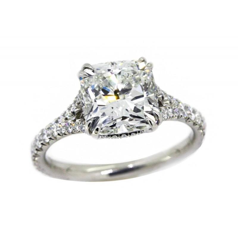 3.12ct cushion cut diamond handmade platinum pave' split shank ring