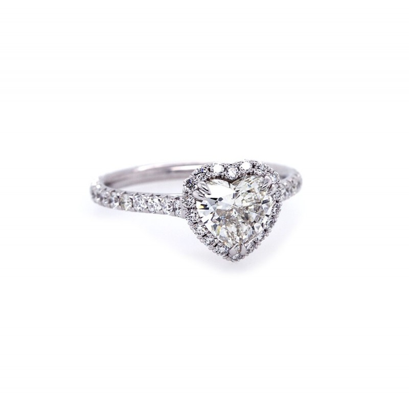 Heart Shaped Diamond Halo Engagement Ring Rings Jewelry