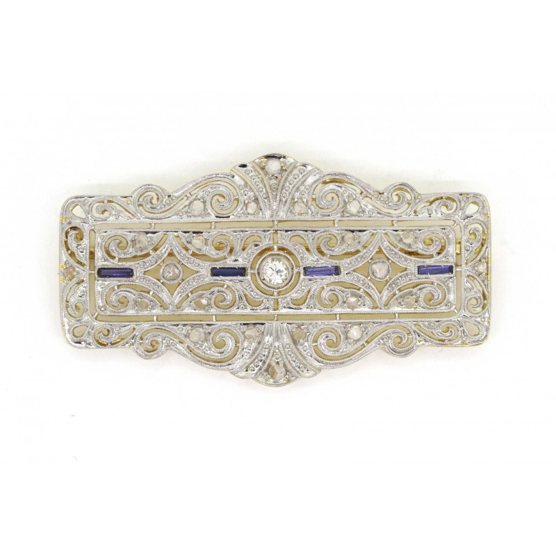 Antique sapphire and diamond brooch pin