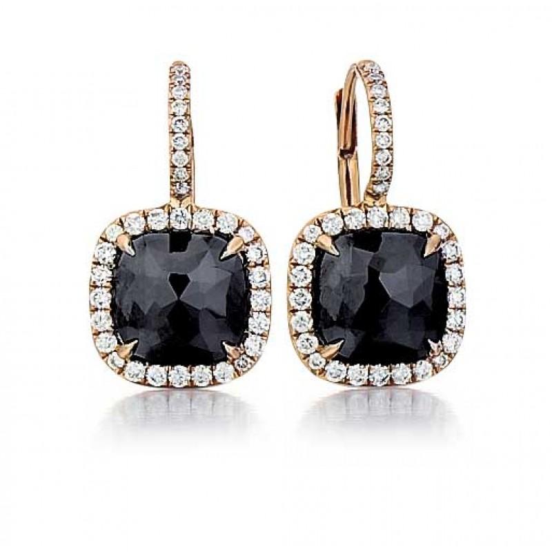 Black diamond drop earrings in rose gold