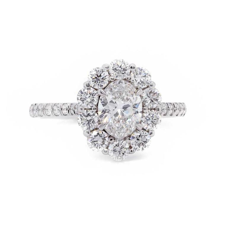 Oval Diamond Flower Halo Ring