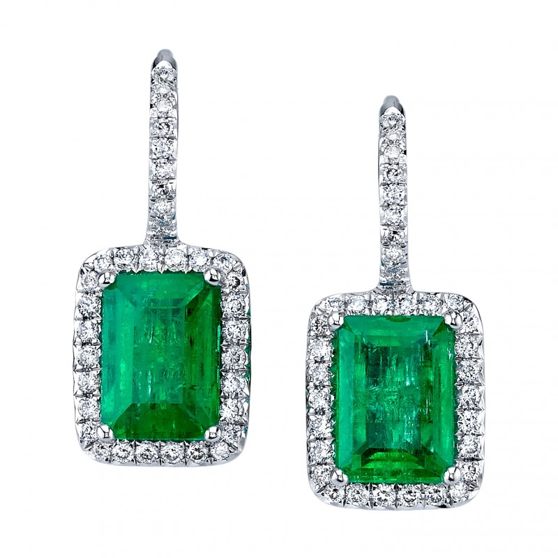 Emerald Cut Emerald Earrings