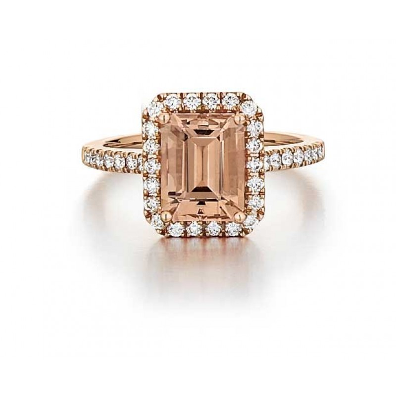 Morganite Ring in Rose Gold with Diamond Halo