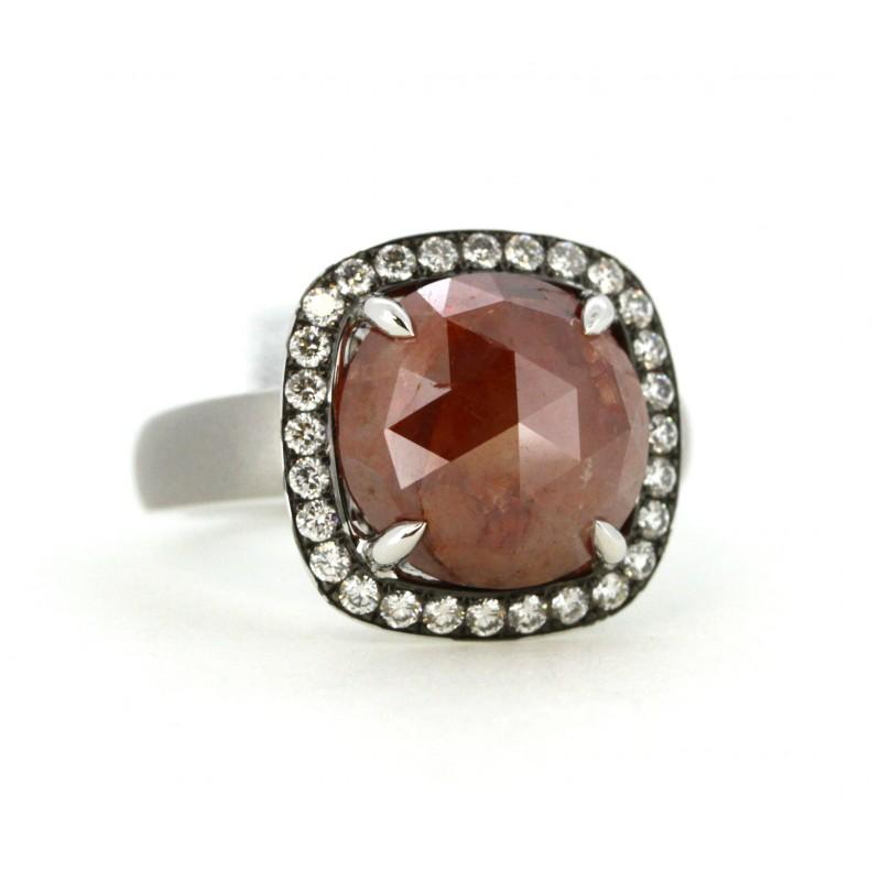 Rustic Carmel Color Diamond with halo