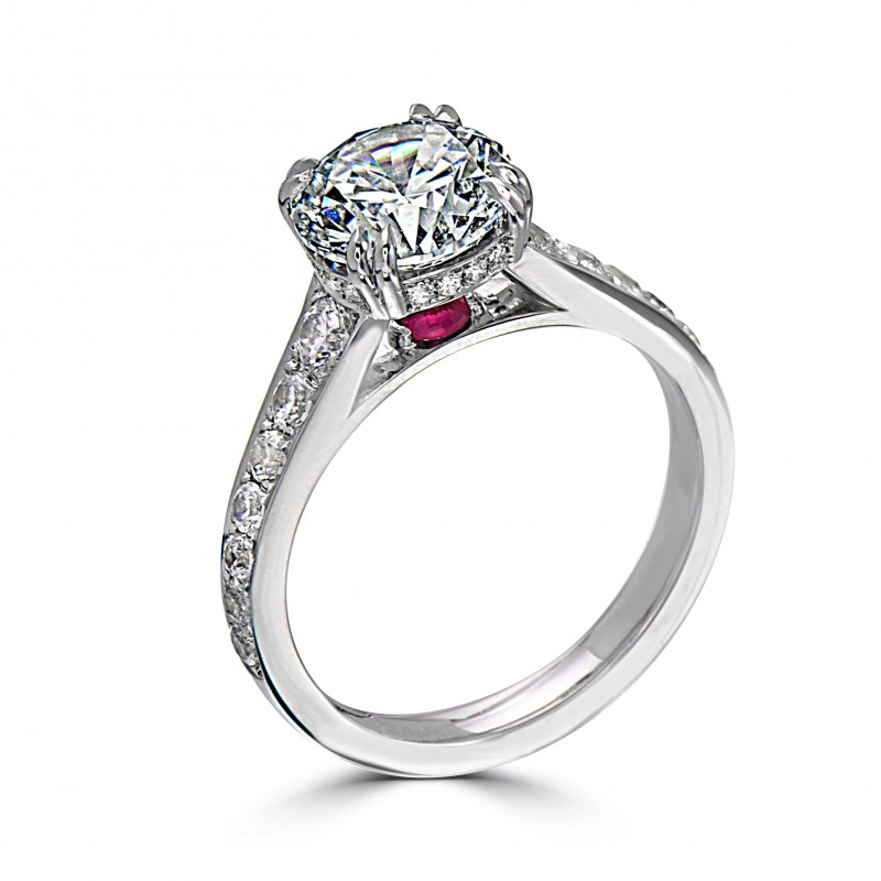 Pave Engagement Ring with Inverted Ruby