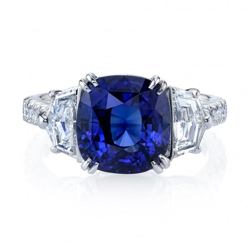 Cushion Sapphire Cadillac Diamonds Ring
