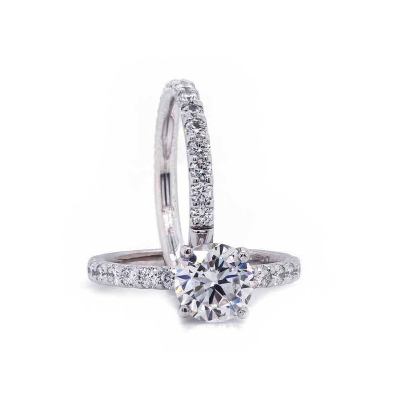 French Pave Diamond Wedding Set