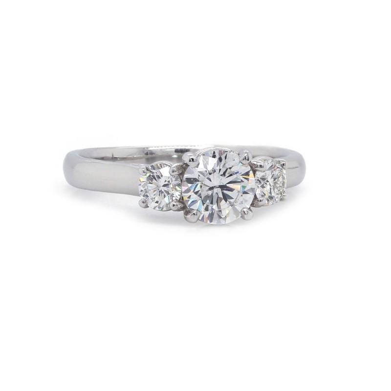 Three Stone Cross Prong Diamond Ring