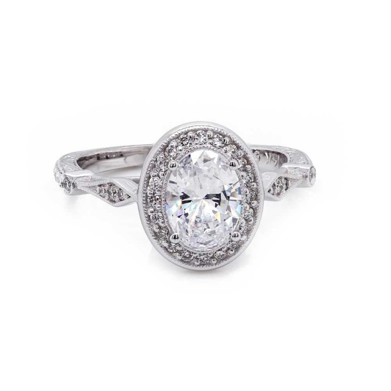 Oval Diamond Halo Vintage Style Engagement Ring