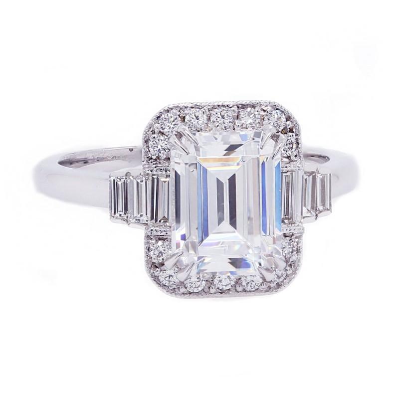 Art Deco Inspired Emerald Cut Engagement Ring
