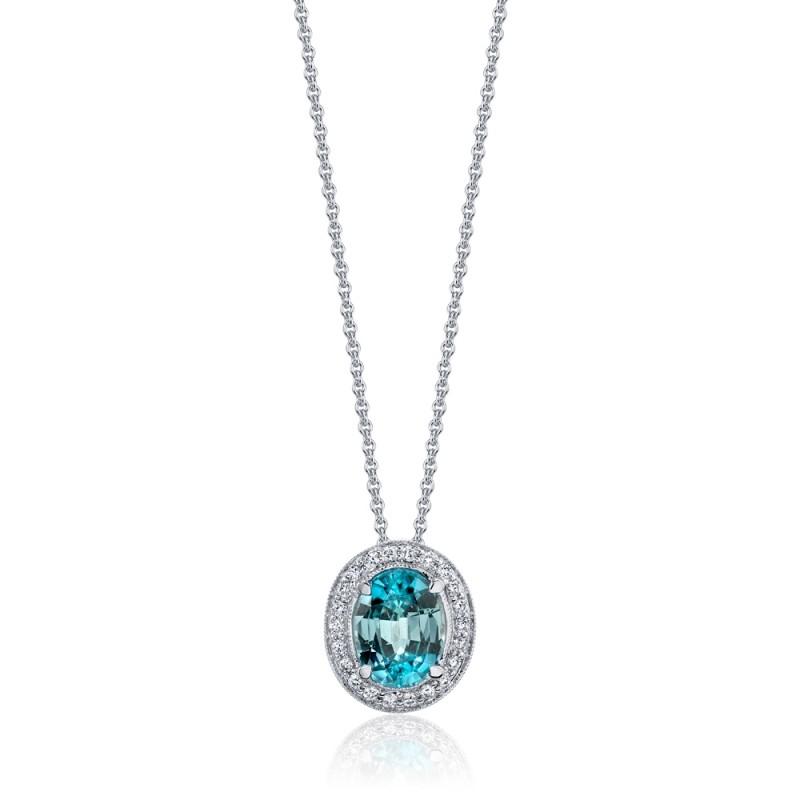 Blue Zircon Diamond Halo Pendant