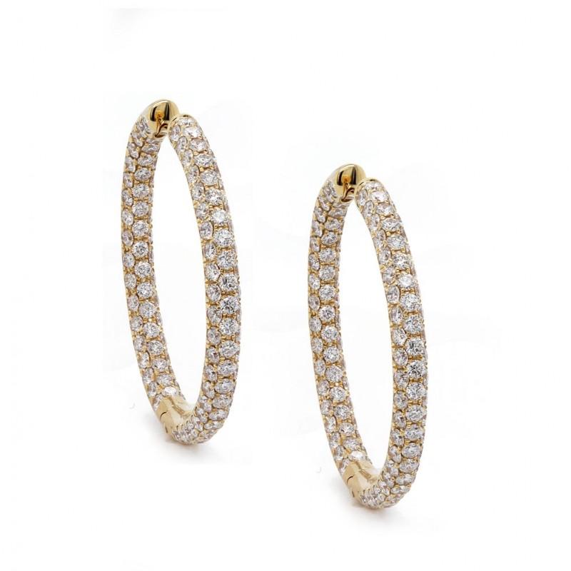 Yellow Gold Inside Out Diamond Hoop Earrings 30mm