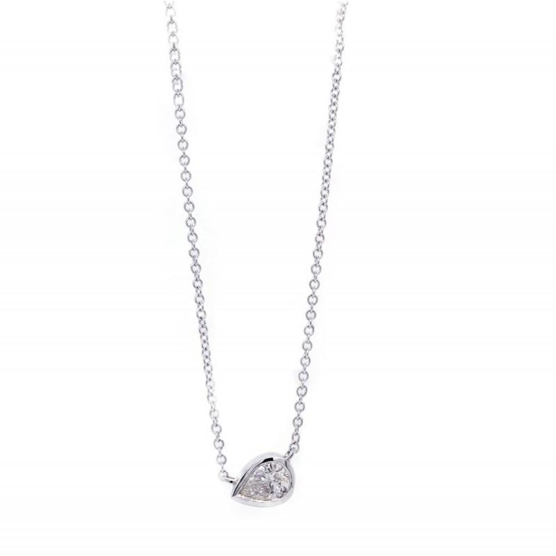 Delicate Bezel Pear Diamond Solitaire