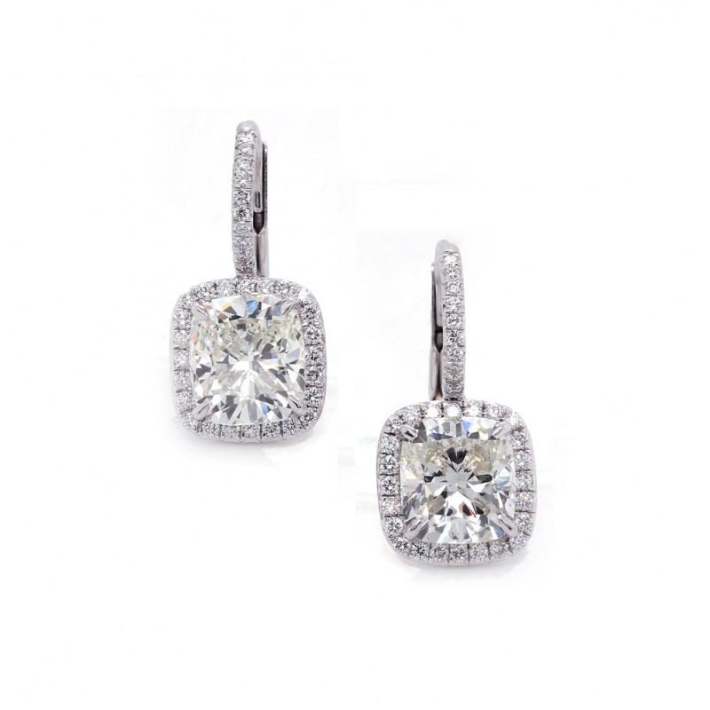 Cushion Cut Diamond Halo Earrings