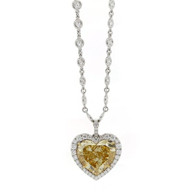 Fancy Yellow Diamond Heart Halo Pendant