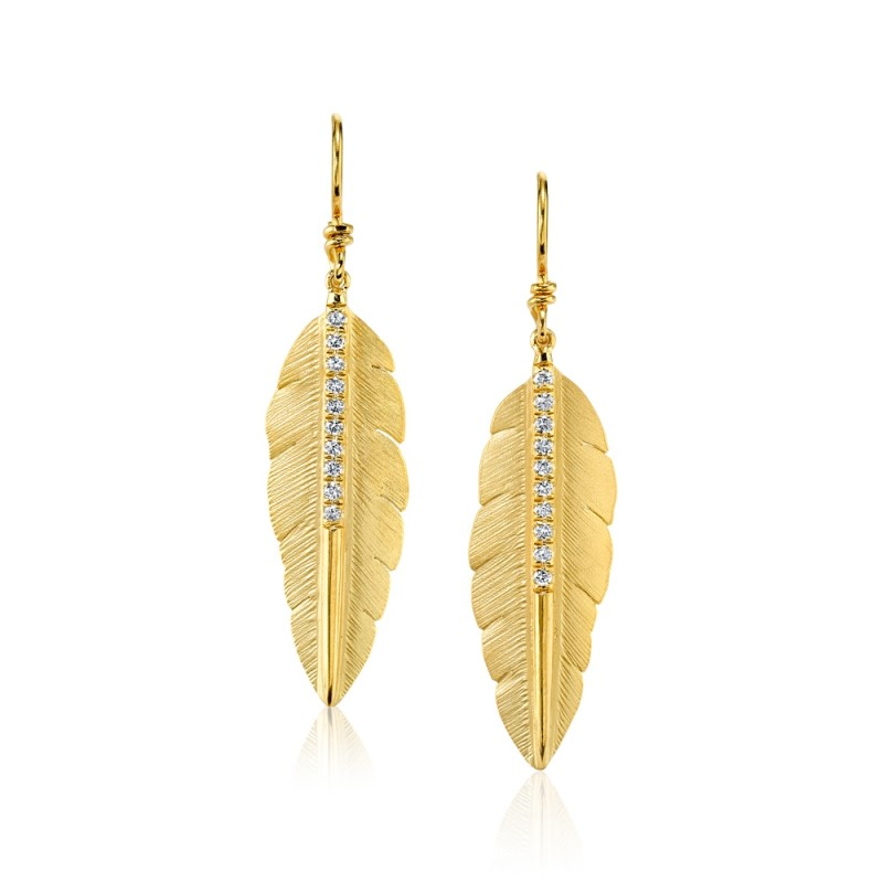 Marika Diamond Feather Earrings