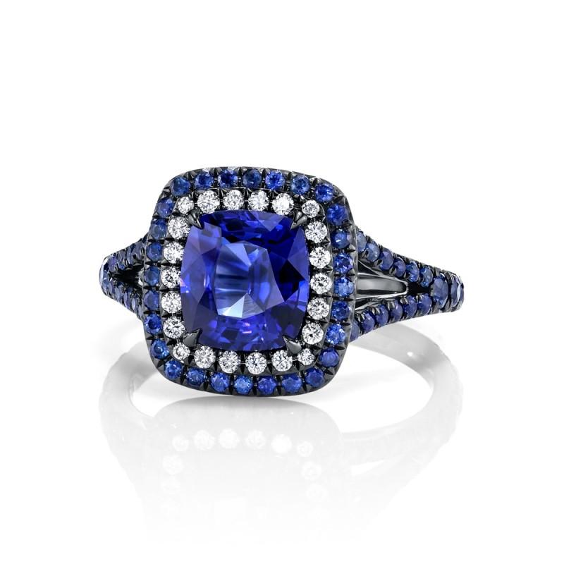 Unique Sapphire Halo Ring