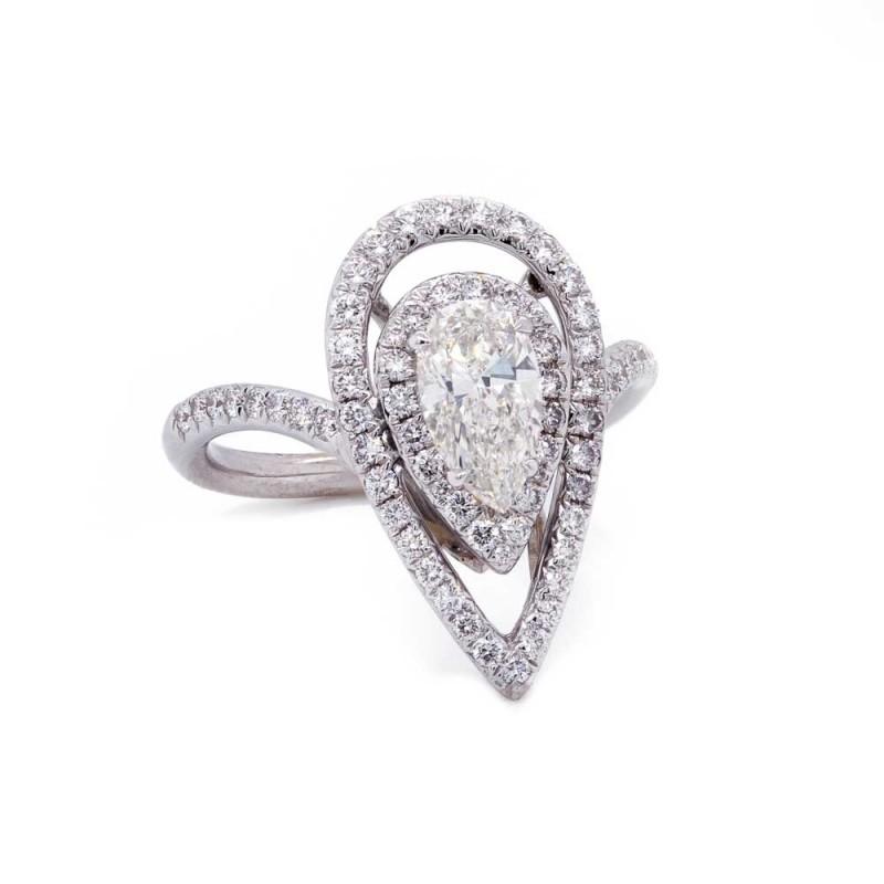 Pear Diamond Open Double Halo Ring