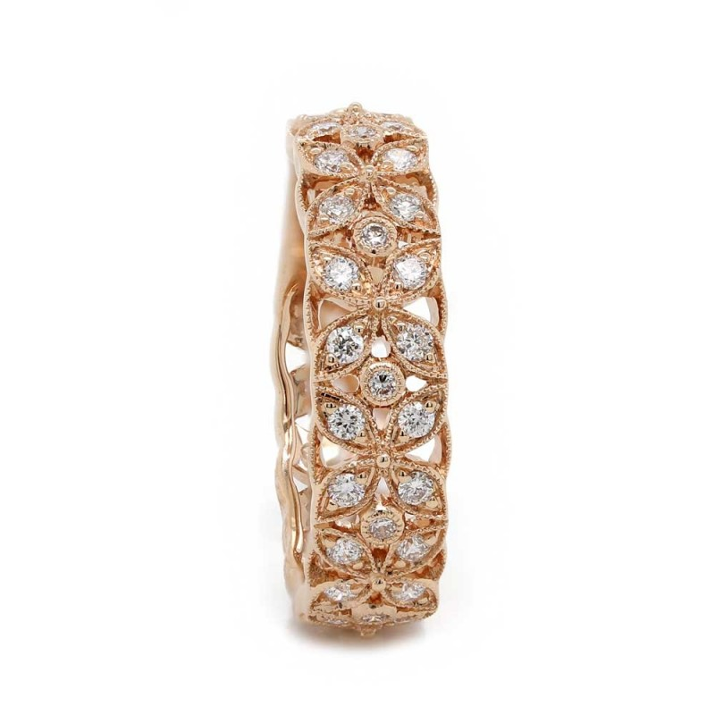 Rose Gold Floral Style Diamond Band