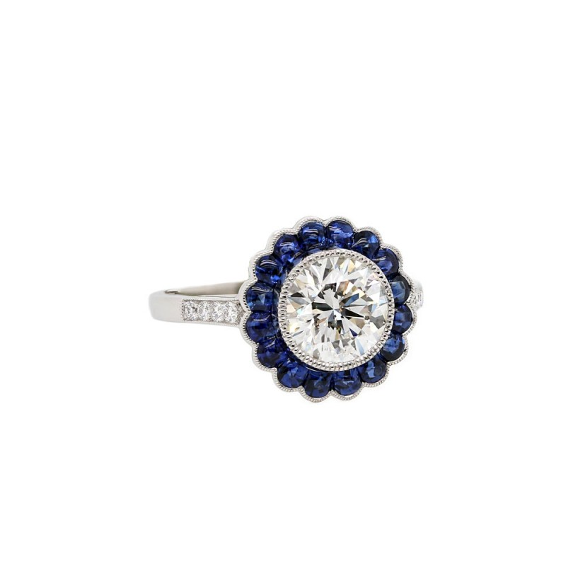 Sapphire Halo Vintage Style Engagement Ring