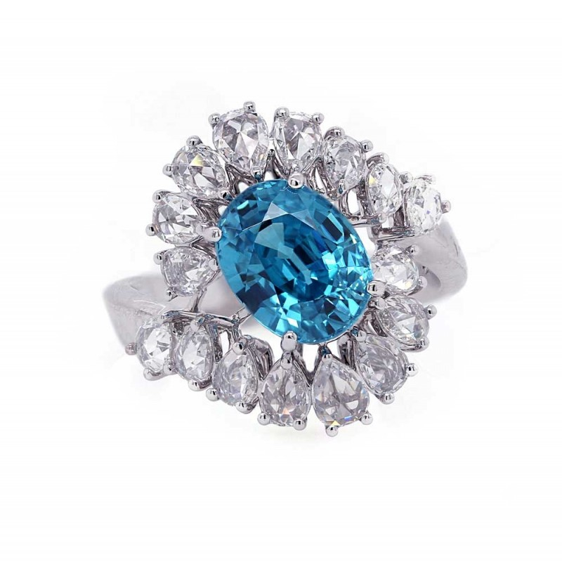 Blue Zircon Ring With Rose Cut Wrap