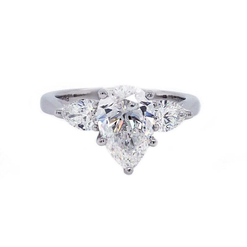 Pear Shaped Diamond Engagement Ring Three Stone