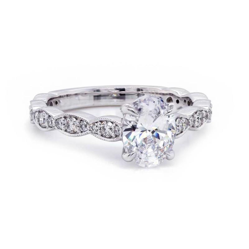 Oval Diamond Engagement Ring Scalloped Band