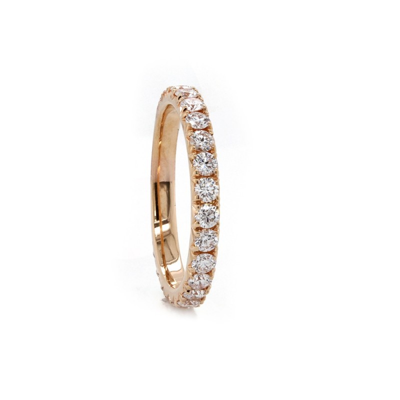 Rose Gold French Pave Diamond Band