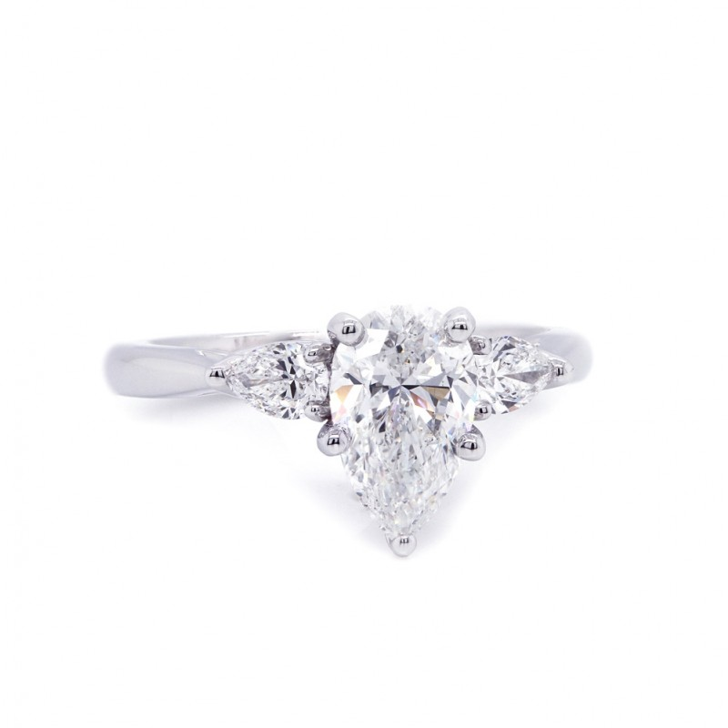 Pear Shape Three Stone Diamond Engagement Ring