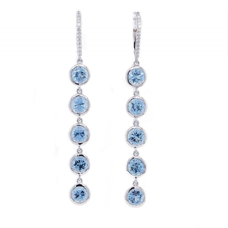Aquamarine Bezel Dangle Earrings