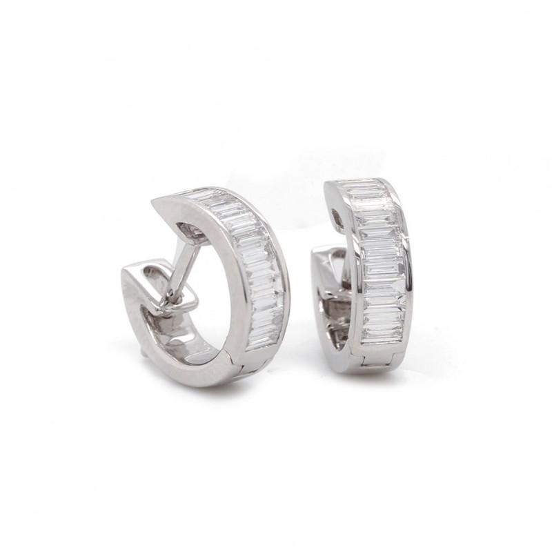 White Gold Diamond Channel Set Hoop Earrings