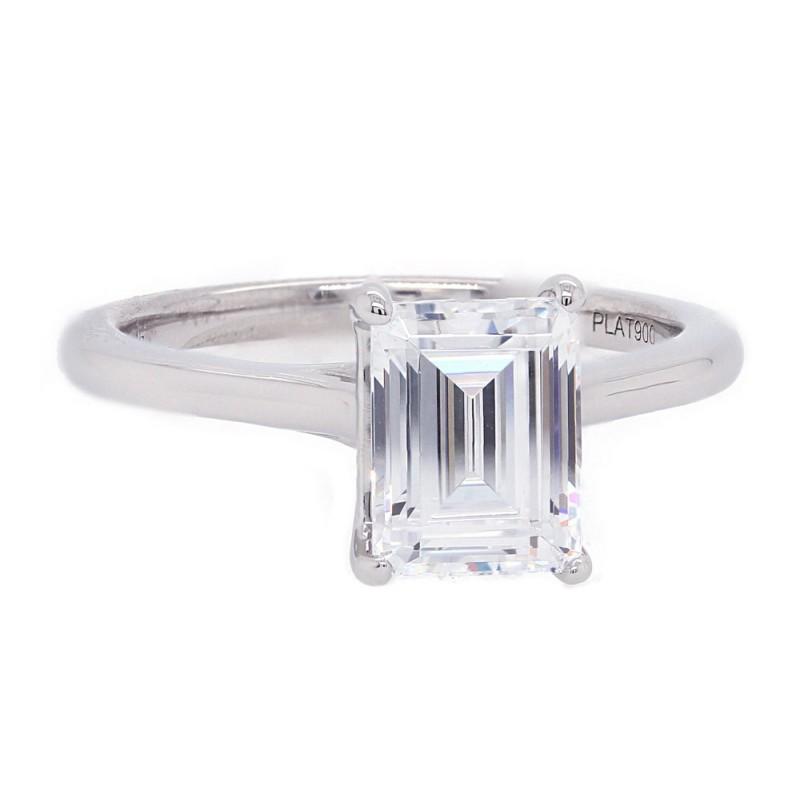 Emerald Cut Platinum Solitaire Engagement Ring