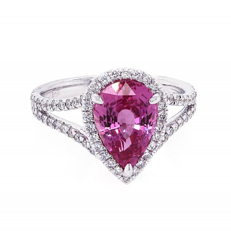 Pear Shape Pink Sapphire Halo Ring