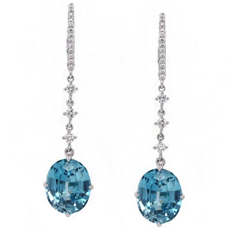 Blue Zircon Long Drop Earrings