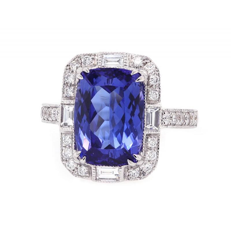 Tanzanite Art Deco Style Ring
